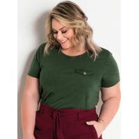 Blusa Lapela Decorativa Verde Militar Plus Size