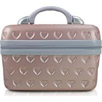 Frasqueira Love- Rosa Claro & Cinza- 23X29X17Cm-Jacki Design