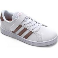 Tênis Infantil Adidas Grand Court C Velcro - Unissex-Branco+Dourado