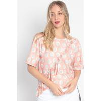 Blusa De Poá Com Babados - Rosa Claro & Off White- Mmy Favorite Things
