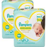 Kit Fralda Pampers Premium Care Recém Nascido Plus Com 40 Unidades - Unissex