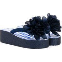 Monnalisa Sandália Com Flores - Azul