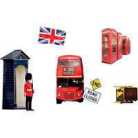 Adesivo De Parede Londres- Vermelho & Azul- 6Pã§Sevolux