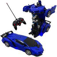 Carrinho De Controle Remoto Vira Robô Importway Azul Bw156Az