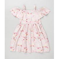 Vestido Infantil Open Shoulder Estampado Floral Manga Curta Rosa Claro