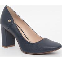 Sapato Em Couro Texturizado - Azul Escuro- Salto: 8,Jorge Bischoff