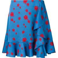 Kenzo Floral Print Draped Skirt - Azul
