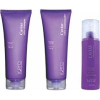 Kit 1 Shampoo Caviar Color K.Pro 240Ml + 1 Condicionador Caviar Color 240G + 1 Leave-In Caviar 200Ml - Unissex-Incolor