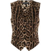 Dolce & Gabbana Colete Com Animal Print - Marrom