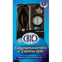 Kit Aparelho De Pressão Bic Adulto + Estetoscópio Adulto Duplo + Braçadeira Nylon Preto Com Velcro + Bolsa