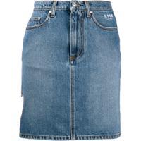 Msgm Saia Jeans Com Recortes De Coração - Azul