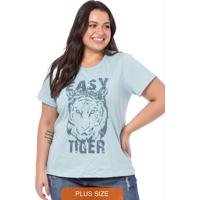 T-Shirt Feminina Easy Tiger Azul Claro