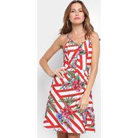Vestido Curto Lily Fashion Estampado - Feminino-Vermelho+Rosa