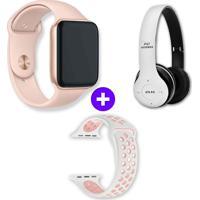 Kit Smartwatch Iwo10 44Mm Dourado + Headphone Bluetooth P47 - Branco Branco