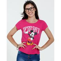 Blusa Juvenil Manga Curta Estampa Frase Mickey Disney