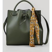 Bolsa Feminina Bucket Média Com Lenço Estampado Floral Verde Militar - Único