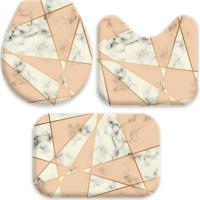 Jogo Tapetes Love Decor Para Banheiro Geometric Marble Creme Único