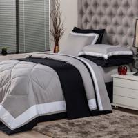 Edredom Solteiro Soft Comfort Poliéster Cinza
