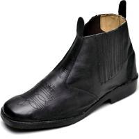 Bota Clube Do Sapato De Franca Com Elástico Preto
