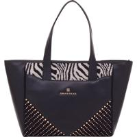 Bolsa Couro Smartbag Tiracolo Preto/Jacquard Zebra - 78104