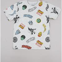 Camiseta Infantil Os Vingadores Manga Curta Cinza Mescla Claro
