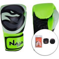 Kit De Boxe Naja: Bandagem + Protetor Bucal + Luvas De Boxe Colors Qi - 12 Oz - Adulto - Verde Claro/Branco
