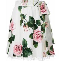 Dolce & Gabbana Saia Curta De Seda Estampada - Branco