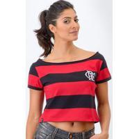 Camisa Flamengo Retrô Baby Look Cropped Feminina - Feminino