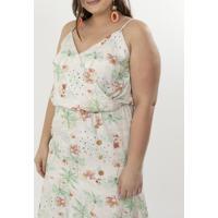 Vestido Floral Com Babados Curve & Plus Size