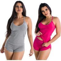 2 Baby Dolls Liso Paris Algodão Penteado Feminino - Feminino-Cinza+Pink