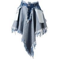 Unravel Project Saia Jeans Assimétrica Com Destroyed - Azul