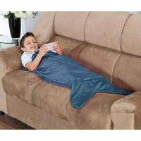 Cobertor Cauda De Tubarão Infantil Saco De Dormir 01 Peça (Toque Aveludado) - Azul