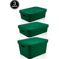 Kit Caixas Organizadoras Cube 3Pçs Ou Verde Botânico