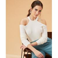 Blusa Tricot Com Ombro Vazado