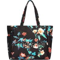 Bolsa Shopping Bag Nylon Floral Mormaii - Feminino-Preto