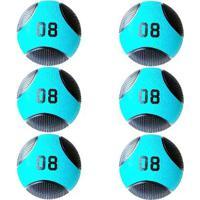 Kit 6 Medicine Ball Liveup Pro E 8 Kg Bola De Peso Treino Funcional - Unissex