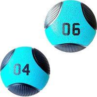 Kit 2 Medicine Ball Liveup Pro 4 E 6 Kg Bola De Peso Treino Funcional - Unissex