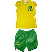 Netshoes  Conjunto Infantil Estilo Li Torcida Baby Brasil Feminina -  Feminino 4ebcf4ef741d5