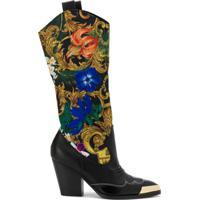 Versace Jeans Couture Bota Com Recorte Barroco - Preto