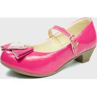Sapato De Salto Pópidí Menina Laço Coração Pink