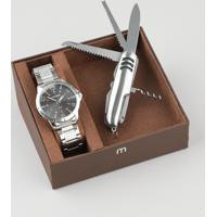 Kit De Relógio Analógico Mondaine Masculino + Canivete - 99322G0Mgne2K1 Prateado - Único