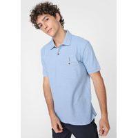 Camisa Polo Aleatory Reta Recortes Texturizados Azul