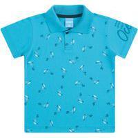 Camisa Polo Meia Malha E Gola Retilínea Baleia - Azul