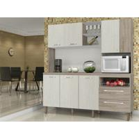 Cozinha Compacta Jade Com Tampo Arena/Nogal - Lc Móveis