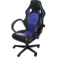 Cadeira Office Racer V16 Preta Com Detalhe Azul Base Nylon - 52110 - Sun House