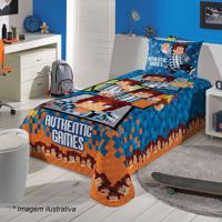 Colcha Em Matelassê Authentic Games® Solteiro- Azul Esculepper