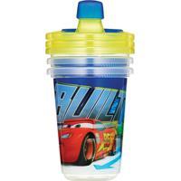 Copo Com Canudo - Disney Cars - 1 Unidade 3 Tampas - Girotondo - Masculino-Azul