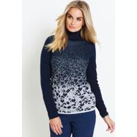 Suéter De Tricô Com Fio Metalizado Azul