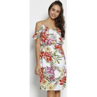Vestido Floral Com Babados - Branco & Laranjamoiselle
