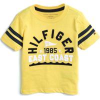 Camiseta Tommy Hilfiger Kids Menino Escrita Amarela